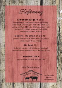 Lunch meny på Åbrånets Limousins kafé